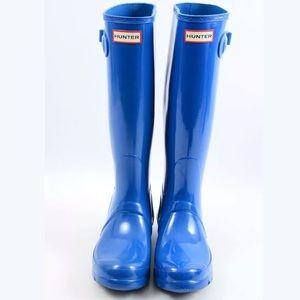 Hunter NWOT original tall gloss blue boots 7
